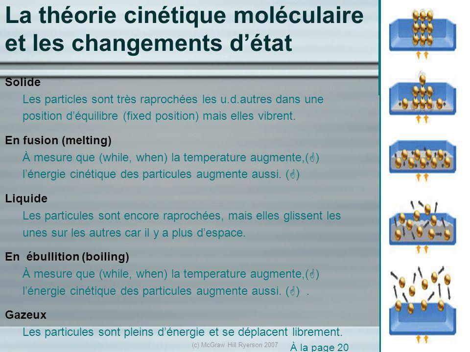 (c) McGraw Hill Ryerson 2007 La température et les changements détat À la page 21 gaz liquidesolide Liquéfaction (condensation liquide) Vaporisation et ébullition Condensation solide fusion