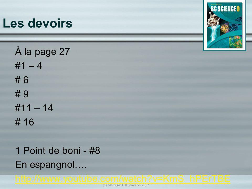 Les devoirs À la page 27 #1 – 4 # 6 # 9 #11 – 14 # 16 1 Point de boni - #8 En espangnol…. http://www.youtube.com/watch?v=KmS_hPErTBE (c) McGraw Hill R