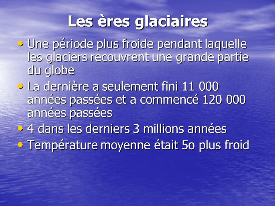 Les ères glaciaires Une période plus froide pendant laquelle les glaciers recouvrent une grande partie du globe Une période plus froide pendant laquel