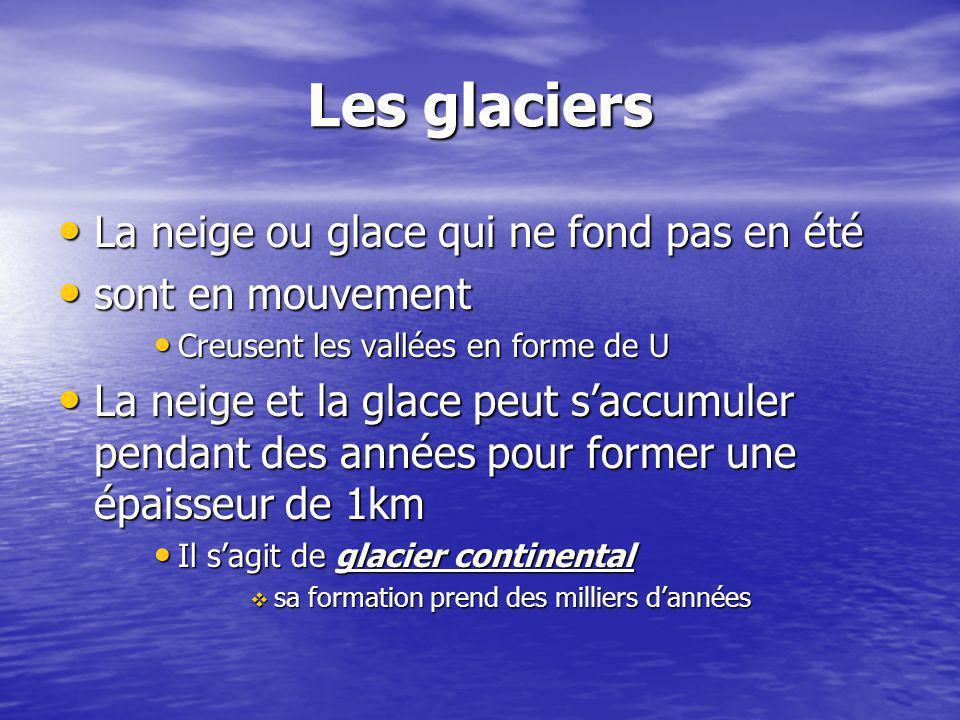Les glaciers La neige ou glace qui ne fond pas en été La neige ou glace qui ne fond pas en été sont en mouvement sont en mouvement Creusent les vallée