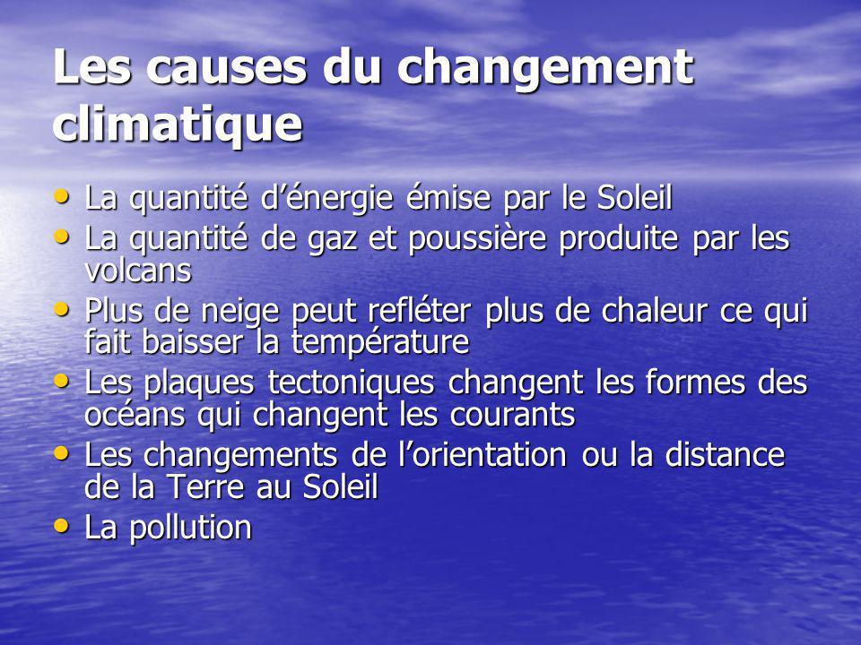 Les causes du changement climatique La quantité dénergie émise par le Soleil La quantité dénergie émise par le Soleil La quantité de gaz et poussière