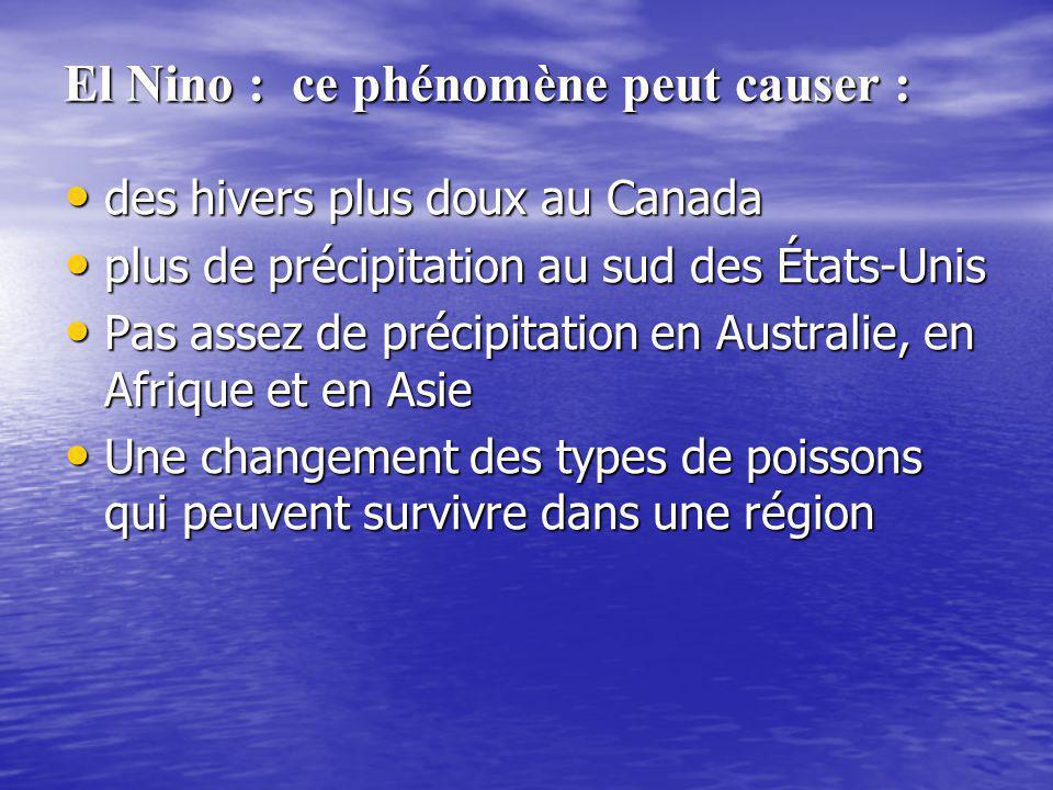 El Nino : ce phénomène peut causer : des hivers plus doux au Canada des hivers plus doux au Canada plus de précipitation au sud des États-Unis plus de