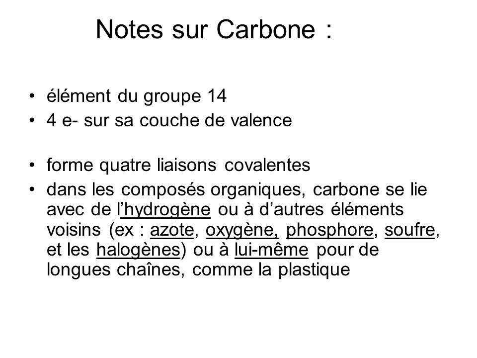 Notes sur Carbone : élément du groupe 14 4 e- sur sa couche de valence forme quatre liaisons covalentes dans les composés organiques, carbone se lie a