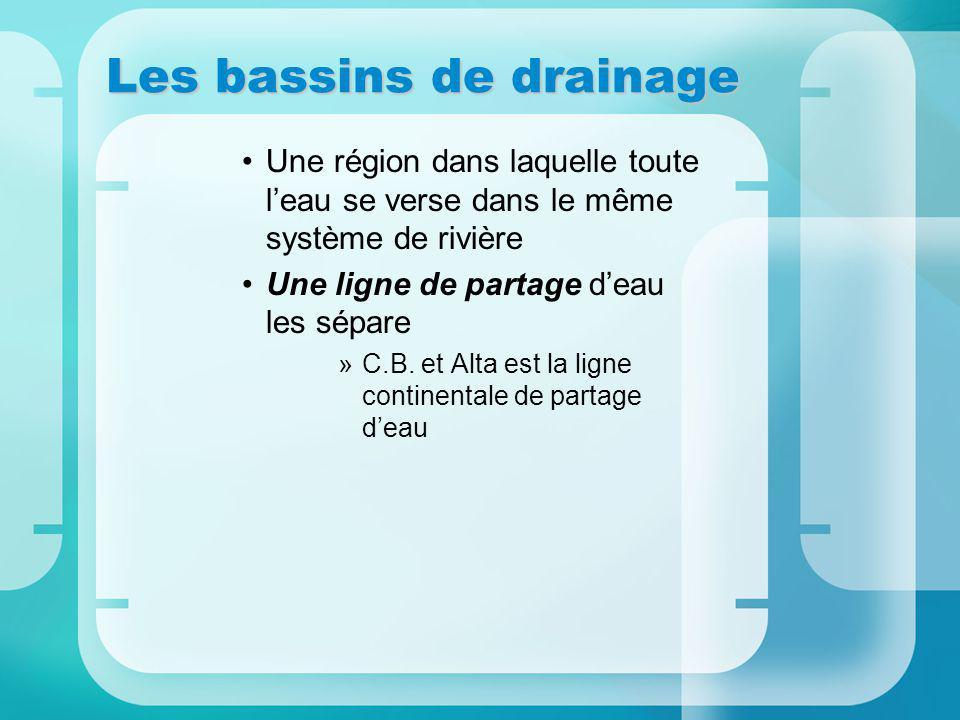 Les bassins de drainage Une région dans laquelle toute leau se verse dans le même système de rivière Une ligne de partage deau les sépare »C.B.
