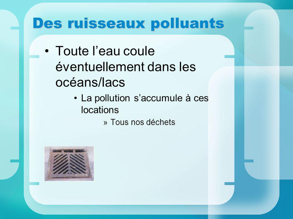 Des ruisseaux polluants Toute leau coule éventuellement dans les océans/lacs La pollution saccumule à ces locations »Tous nos déchets