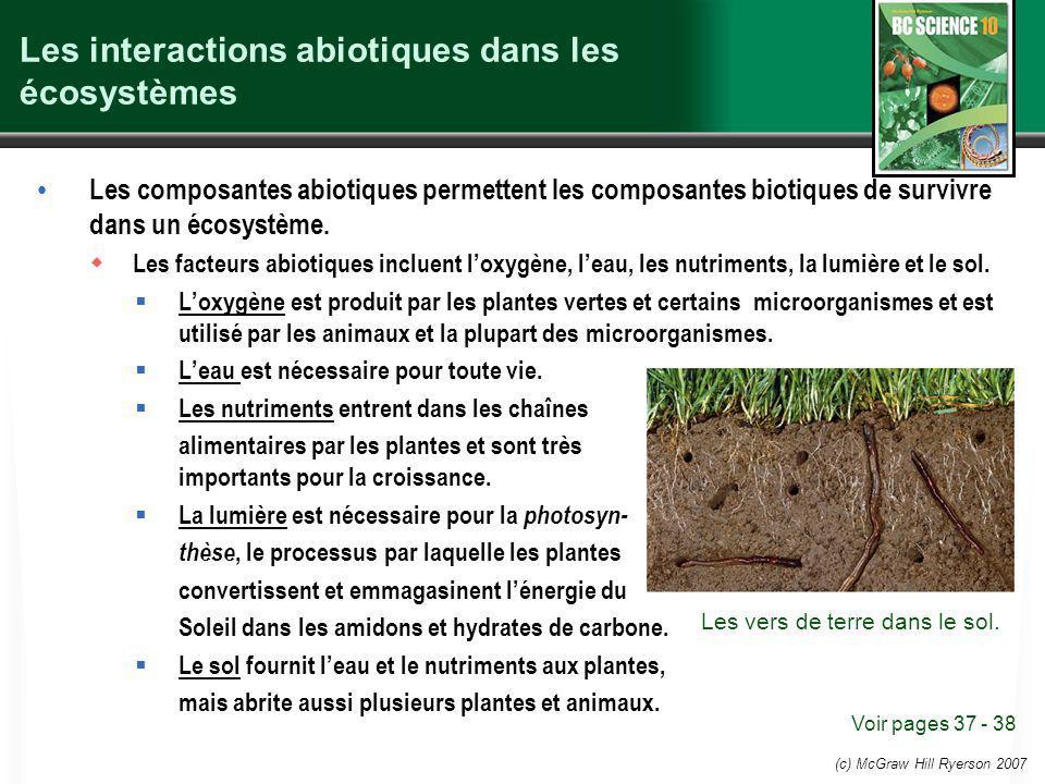 (c) McGraw Hill Ryerson 2007 Les interactions abiotiques dans les écosystèmes Les composantes abiotiques permettent les composantes biotiques de survivre dans un écosystème.