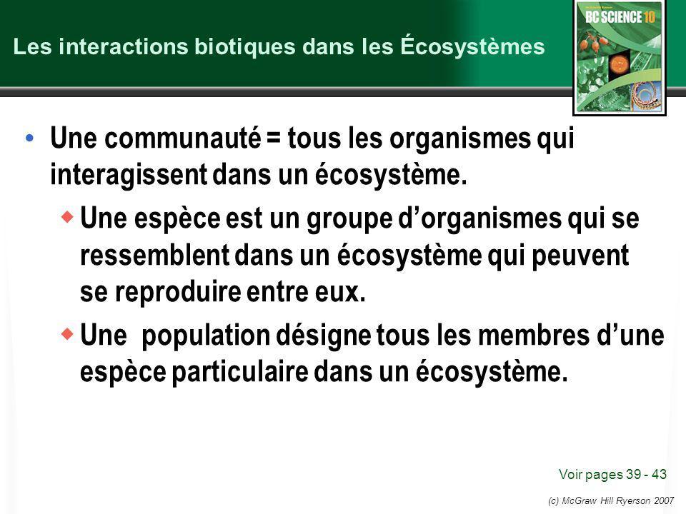 (c) McGraw Hill Ryerson 2007 Les interactions biotiques dans les Écosystèmes Une communauté = tous les organismes qui interagissent dans un écosystème