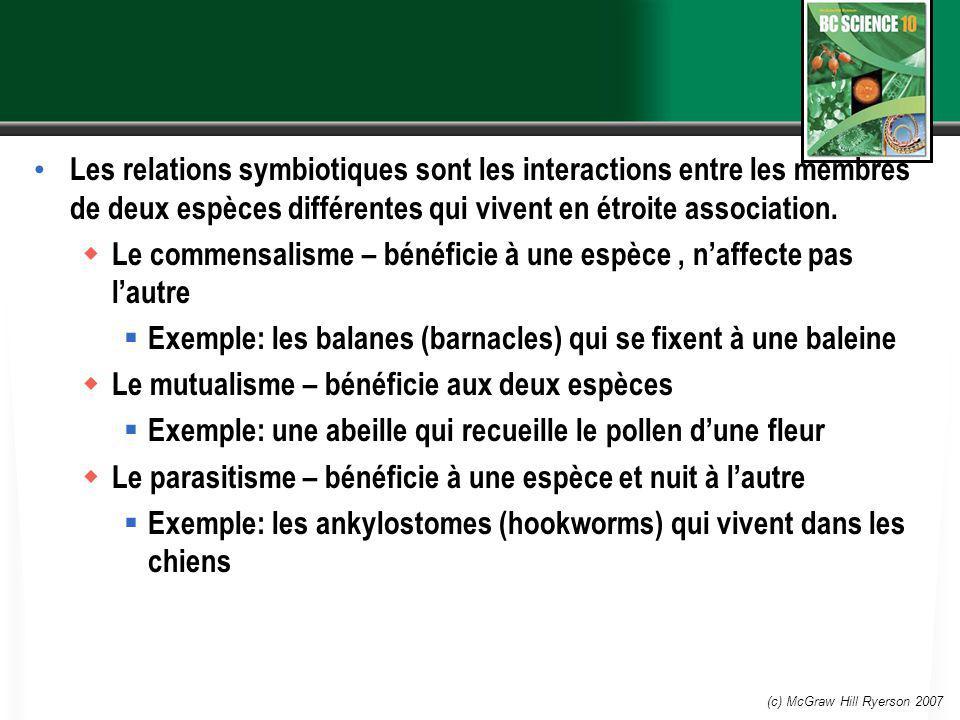 (c) McGraw Hill Ryerson 2007 Les relations symbiotiques sont les interactions entre les membres de deux espèces différentes qui vivent en étroite asso