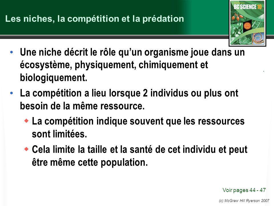 (c) McGraw Hill Ryerson 2007 Les niches, la compétition et la prédation Une niche décrit le rôle quun organisme joue dans un écosystème, physiquement,