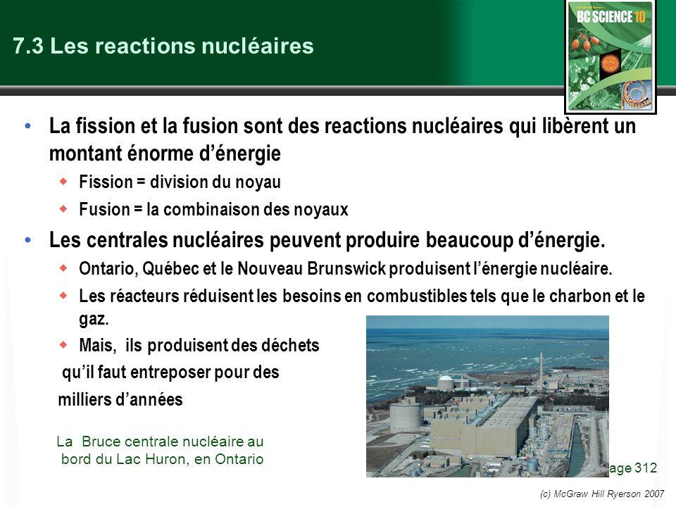 (c) McGraw Hill Ryerson 2007 7.3 Les reactions nucléaires La fission et la fusion sont des reactions nucléaires qui libèrent un montant énorme dénergi