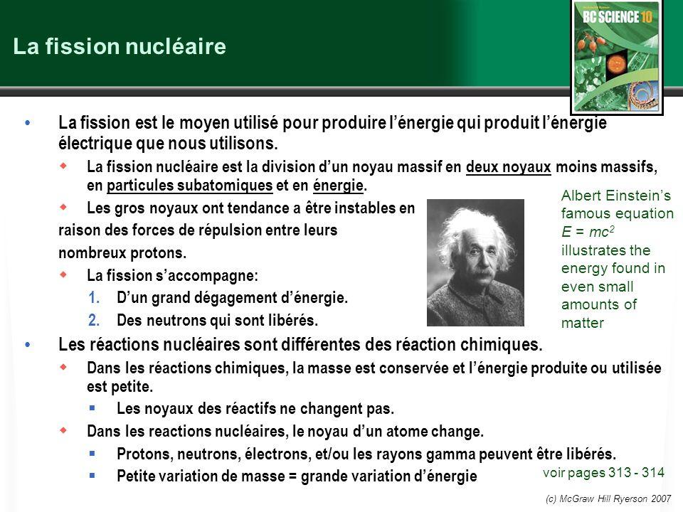 (c) McGraw Hill Ryerson 2007 La fission nucléaire La fission est le moyen utilisé pour produire lénergie qui produit lénergie électrique que nous util