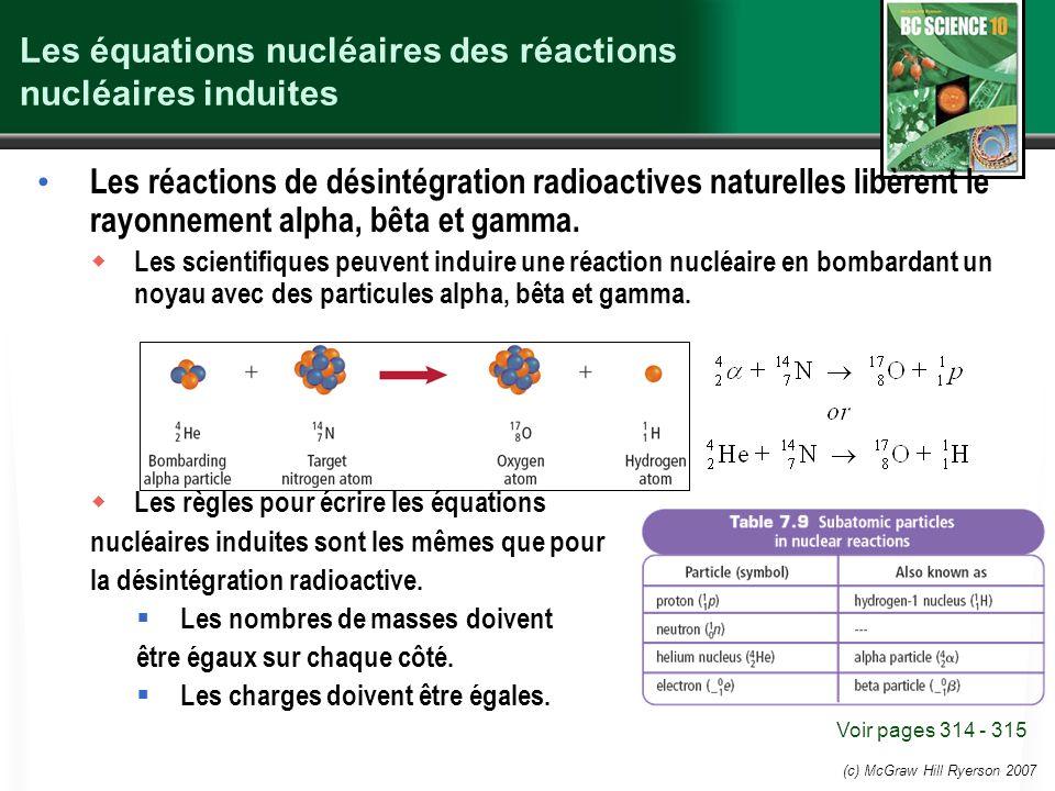 (c) McGraw Hill Ryerson 2007 Les équations nucléaires des réactions nucléaires induites Les réactions de désintégration radioactives naturelles libère