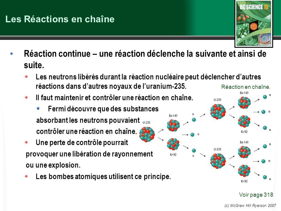 (c) McGraw Hill Ryerson 2007 Les Réactions en chaîne Réaction continue – une réaction déclenche la suivante et ainsi de suite. Les neutrons libérés du