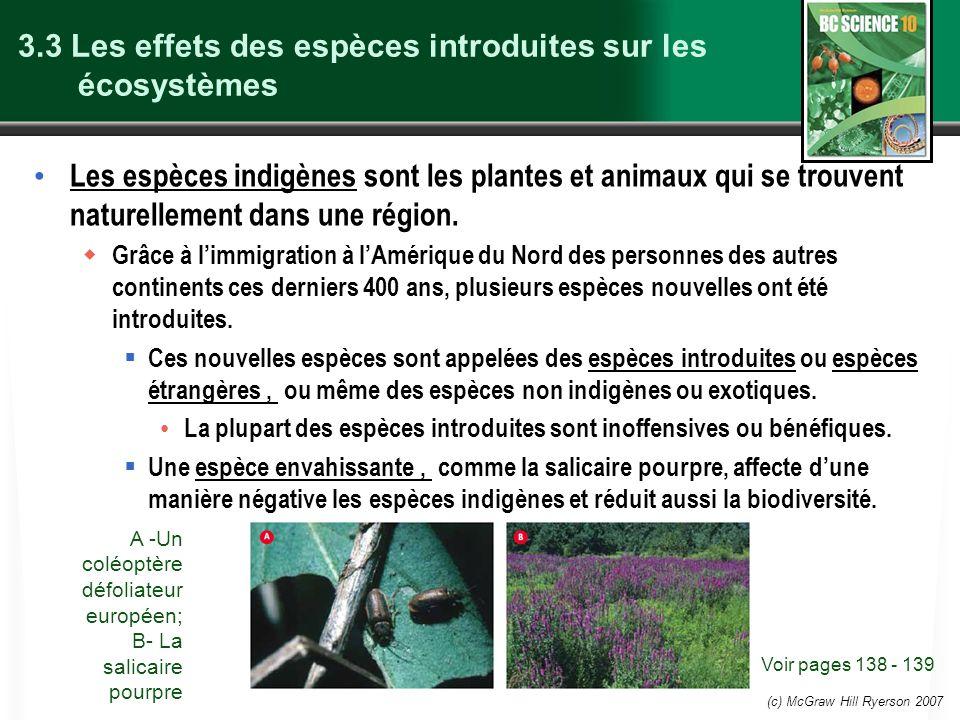 (c) McGraw Hill Ryerson 2007 3.3 Les effets des espèces introduites sur les écosystèmes Les espèces indigènes sont les plantes et animaux qui se trouvent naturellement dans une région.