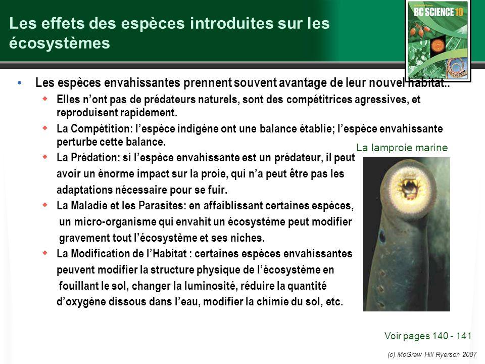 (c) McGraw Hill Ryerson 2007 Les effets des espèces introduites sur les écosystèmes Les espèces envahissantes prennent souvent avantage de leur nouvel habitat..