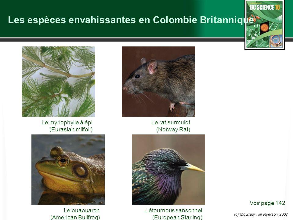 (c) McGraw Hill Ryerson 2007 Les espèces envahissantes en Colombie Britannique Voir page 142 Le myriophylle à épi (Eurasian milfoil) Le rat surmulot (Norway Rat) Le ouaouaron (American Bullfrog) Létournous sansonnet (European Starling)