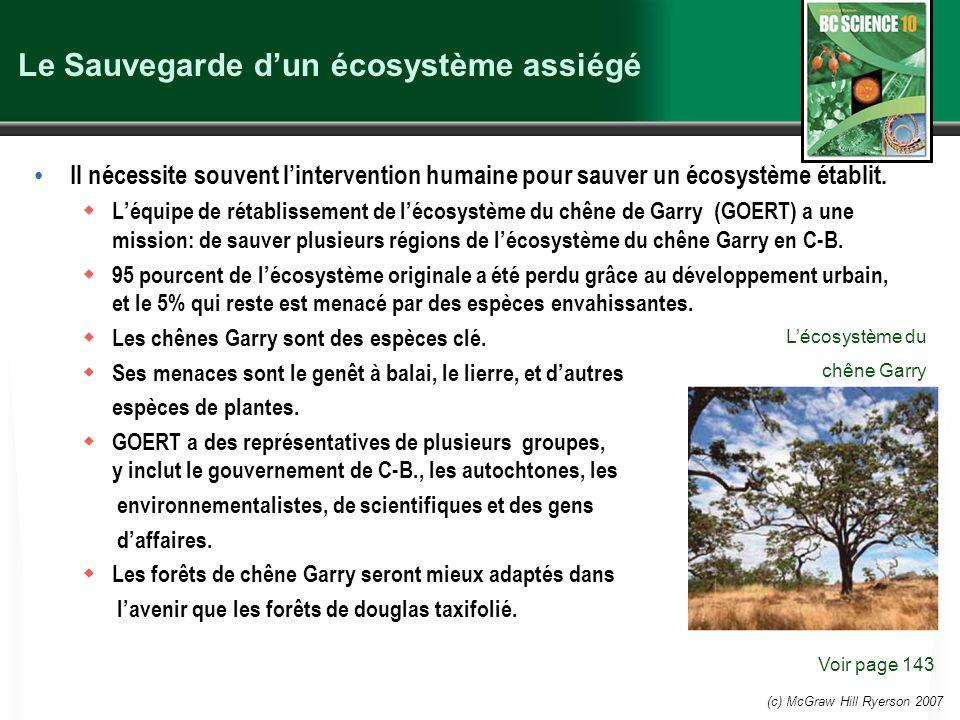 (c) McGraw Hill Ryerson 2007 Le Sauvegarde dun écosystème assiégé Il nécessite souvent lintervention humaine pour sauver un écosystème établit.