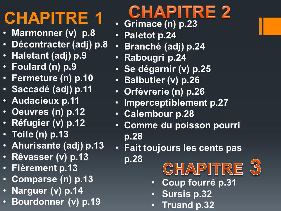 CHAPITRE 1 Marmonner (v) p.8 Décontracter (adj) p.8 Haletant (adj) p.9 Foulard (n) p.9 Fermeture (n) p.10 Saccadé (adj) p.11 Audacieux p.11 Oeuvres (n) p.12 Réfugier (v) p.12 Toile (n) p.13 Ahurisante (adj) p.13 Rêvasser (v) p.13 Fièrement p.13 Comparse (n) p.13 Narguer (v) p.14 Bourdonner (v) p.19 Grimace (n) p.23 Paletot p.24 Branché (adj) p.24 Rabougri p.24 Se dégarnir (v) p.25 Balbutier (v) p.26 Orfèvrerie (n) p.26 Imperceptiblement p.27 Calembour p.28 Comme du poisson pourri p.28 Fait toujours les cents pas p.28 Coup fourré p.31 Sursis p.32 Truand p.32