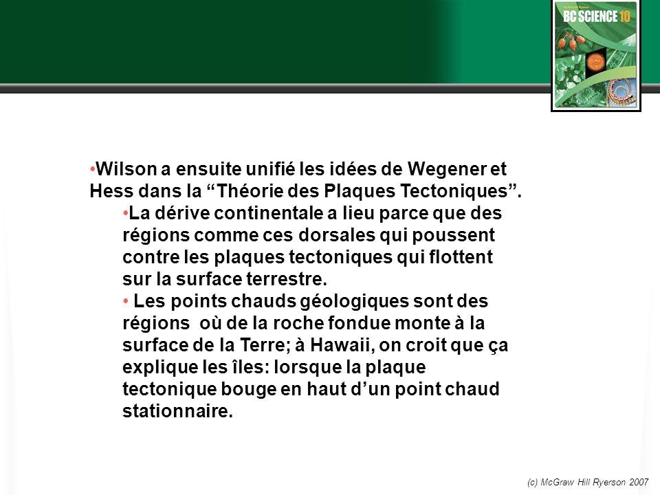 (c) McGraw Hill Ryerson 2007 Wilson a ensuite unifié les idées de Wegener et Hess dans la Théorie des Plaques Tectoniques. La dérive continentale a li