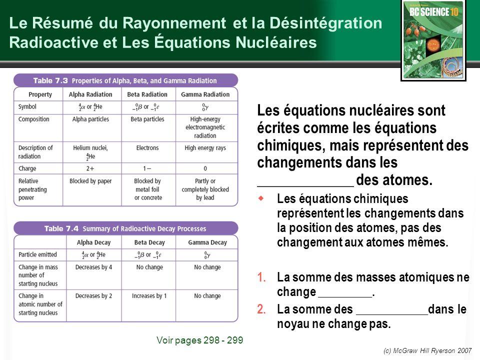 (c) McGraw Hill Ryerson 2007 Le Résumé du Rayonnement et la Désintégration Radioactive et Les Équations Nucléaires Les équations nucléaires sont écrit