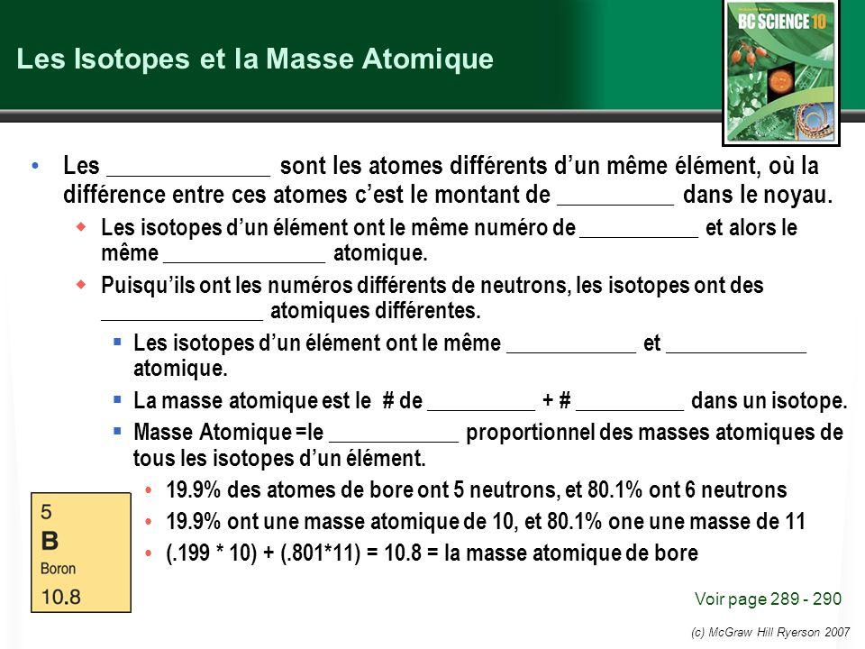 (c) McGraw Hill Ryerson 2007 Les Isotopes et la Masse Atomique Les ______________ sont les atomes différents dun même élément, où la différence entre