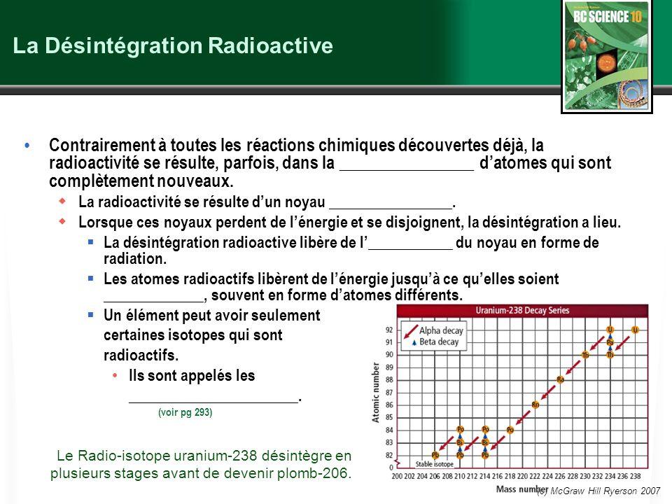 (c) McGraw Hill Ryerson 2007 La Désintégration Radioactive Contrairement à toutes les réactions chimiques découvertes déjà, la radioactivité se résult