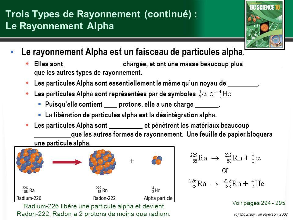 (c) McGraw Hill Ryerson 2007 Trois Types de Rayonnement (continué) : Le Rayonnement Alpha Le rayonnement Alpha est un faisceau de particules alpha. El