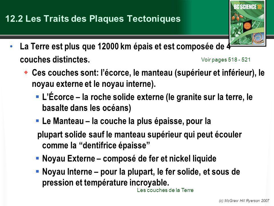 (c) McGraw Hill Ryerson 2007 Les Traits des Plaques Tectoniques Les plaques tectoniques forment la lithosphère, qui flotte sur l asthénosphère.
