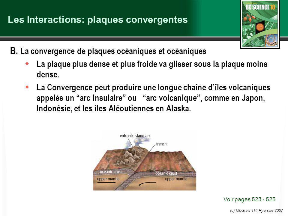 (c) McGraw Hill Ryerson 2007 Les Interactions: plaques convergentes B.