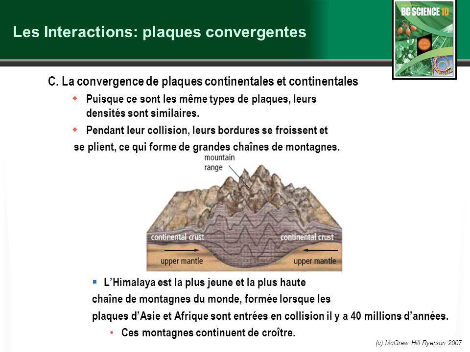 (c) McGraw Hill Ryerson 2007 Les Interactions: plaques convergentes C.