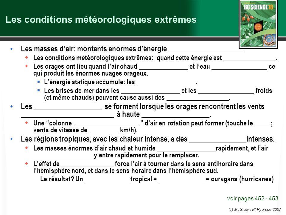 (c) McGraw Hill Ryerson 2007 Les conditions météorologiques extrêmes Les masses dair: montants énormes dénergie _____________________ Les conditions m