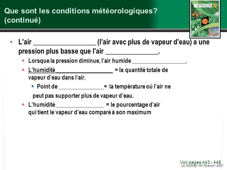 (c) McGraw Hill Ryerson 2007 Que sont les conditions météorologiques? (continué) Lair __________________ (lair avec plus de vapeur deau) a une pressio