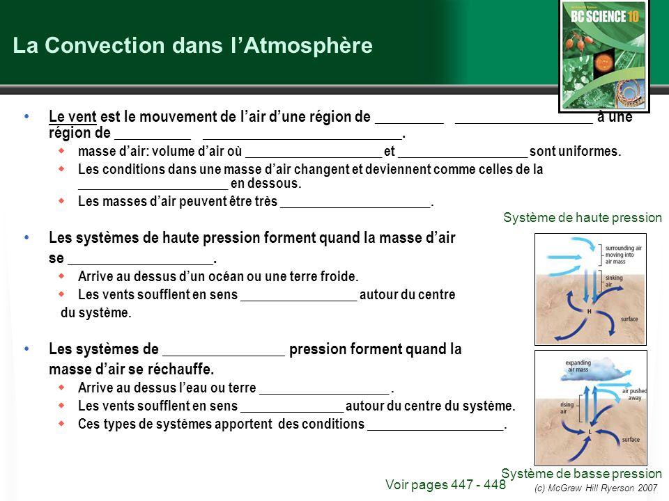 (c) McGraw Hill Ryerson 2007 La Convection dans lAtmosphère Le vent est le mouvement de lair dune région de _________ __________________ à une région