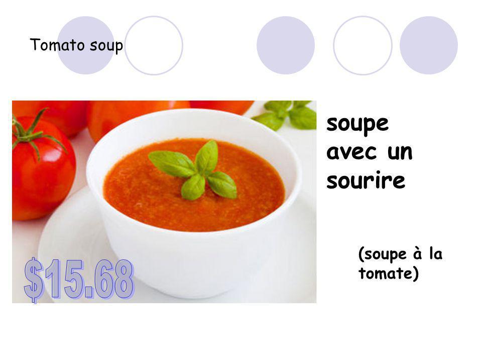 Tomato soup soupe avec un sourire (soupe à la tomate)