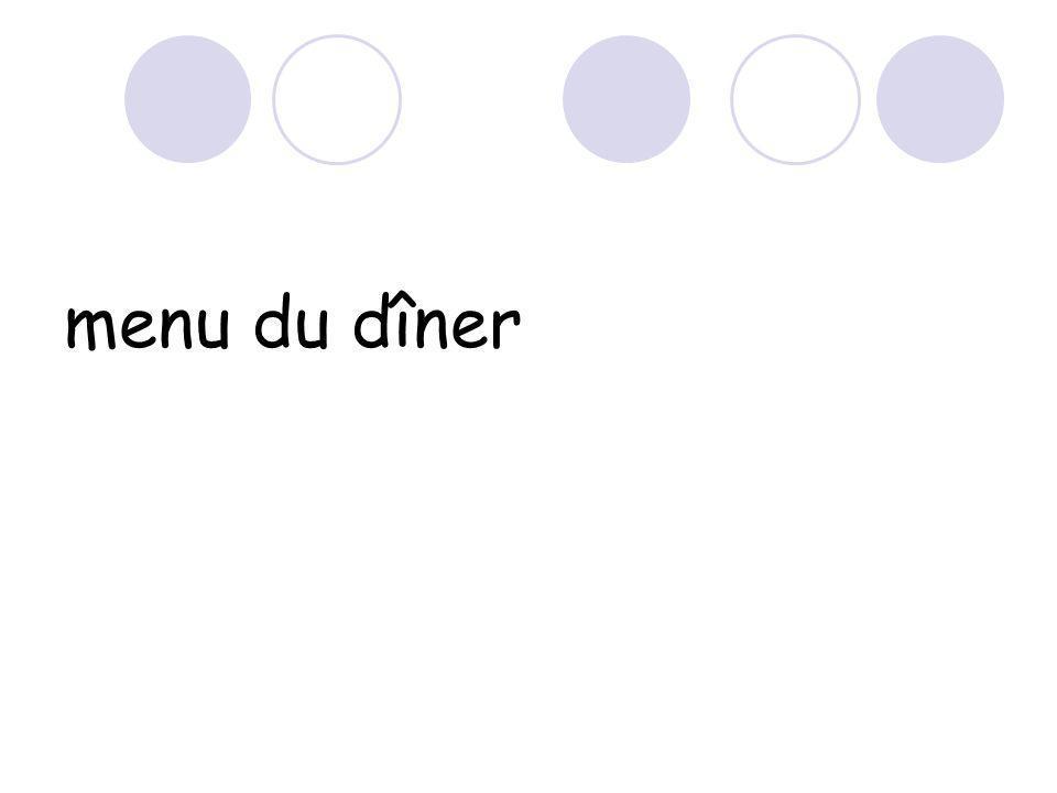 menu du dîner