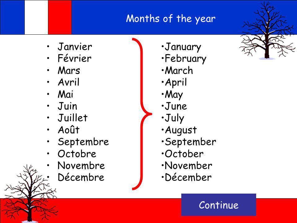 Janvier Février Mars Avril Mai Juin Juillet Août Septembre Octobre Novembre Décembre Record Voici les mois de lannée Can you guess what they are in En