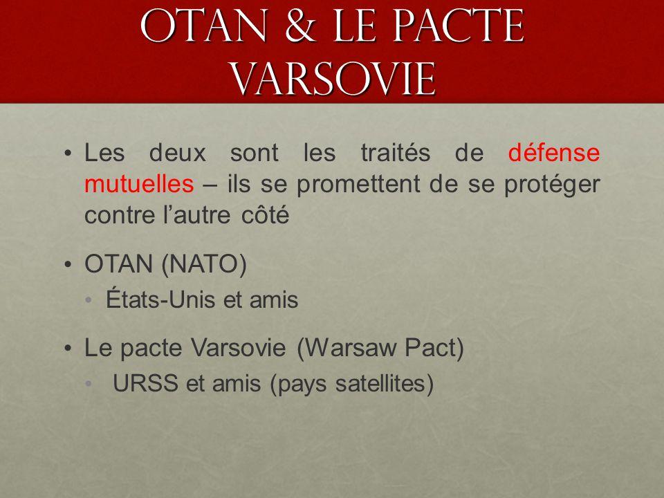 OTAN & le pacte VARSOVIE Les deux sont les traités de défense mutuelles – ils se promettent de se protéger contre lautre côté OTAN (NATO) États-Unis et amis Le pacte Varsovie (Warsaw Pact) URSS et amis (pays satellites)