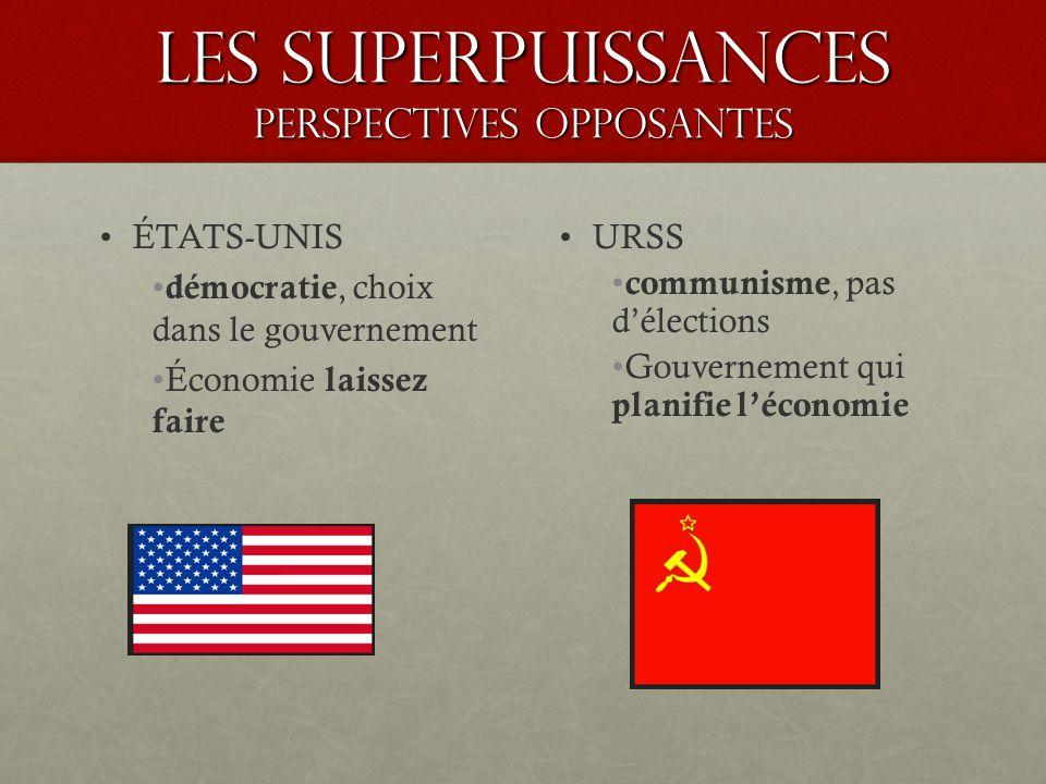 Les superpuissances PERSPECTIVES OPPOSANTES ÉTATS-UNIS démocratie, choix dans le gouvernement Économie laissez faire URSS communisme, pas délections Gouvernement qui planifie léconomie