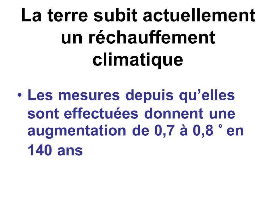 La terre subit actuellement un réchauffement climatique Les mesures depuis quelles sont effectuées donnent une augmentation de 0,7 à 0,8 ° en 140 ans