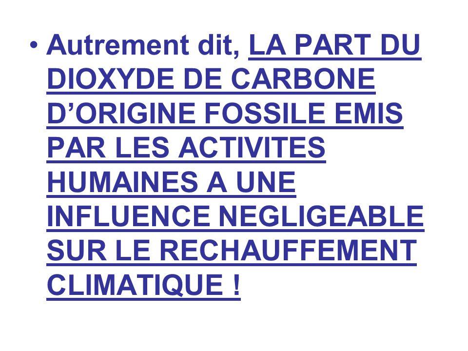 Autrement dit, LA PART DU DIOXYDE DE CARBONE DORIGINE FOSSILE EMIS PAR LES ACTIVITES HUMAINES A UNE INFLUENCE NEGLIGEABLE SUR LE RECHAUFFEMENT CLIMATI