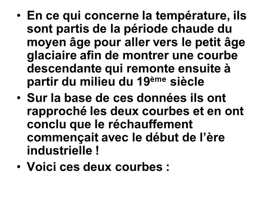 En ce qui concerne la température, ils sont partis de la période chaude du moyen âge pour aller vers le petit âge glaciaire afin de montrer une courbe