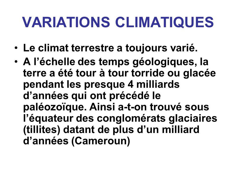 VARIATIONS CLIMATIQUES Le climat terrestre a toujours varié. A léchelle des temps géologiques, la terre a été tour à tour torride ou glacée pendant le