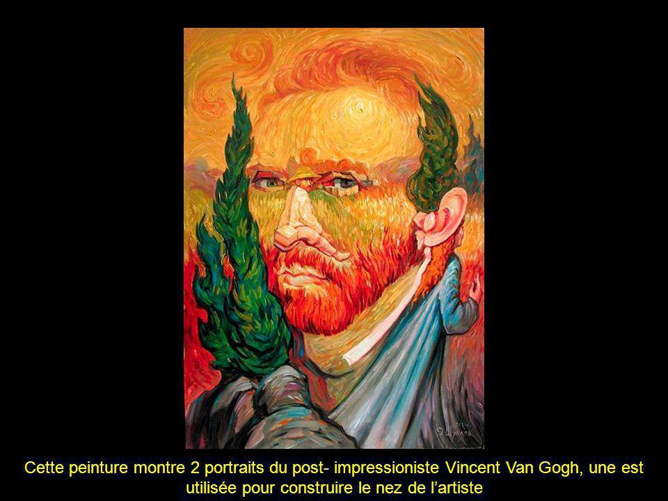 Cette peinture montre 2 portraits du post- impressioniste Vincent Van Gogh, une est utilisée pour construire le nez de lartiste