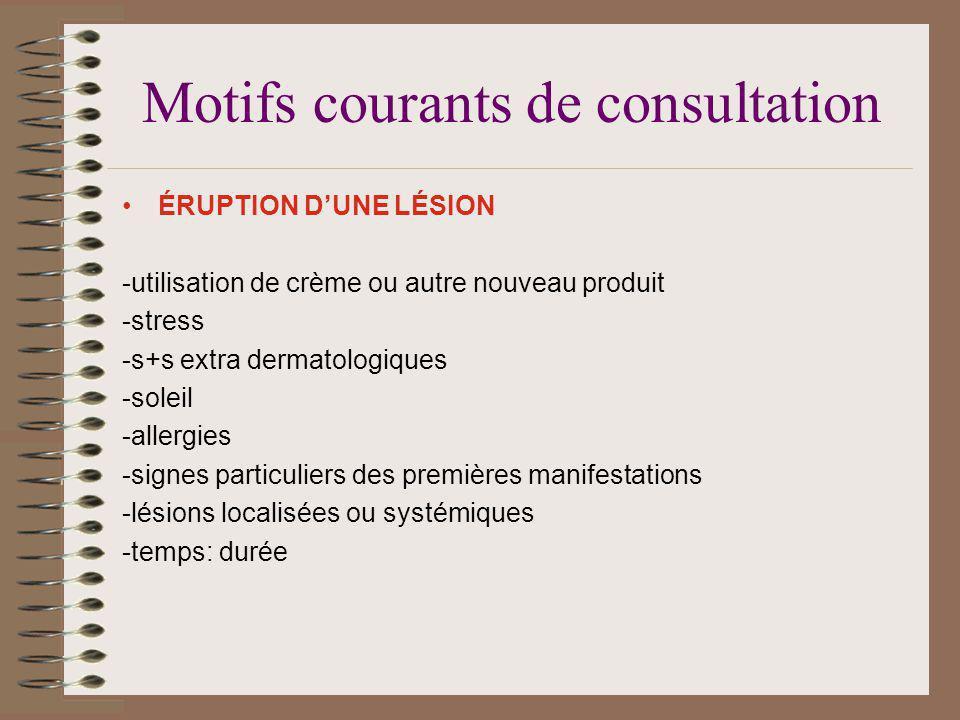 Motifs courants de consultation ÉRUPTION DUNE LÉSION -utilisation de crème ou autre nouveau produit -stress -s+s extra dermatologiques -soleil -allerg