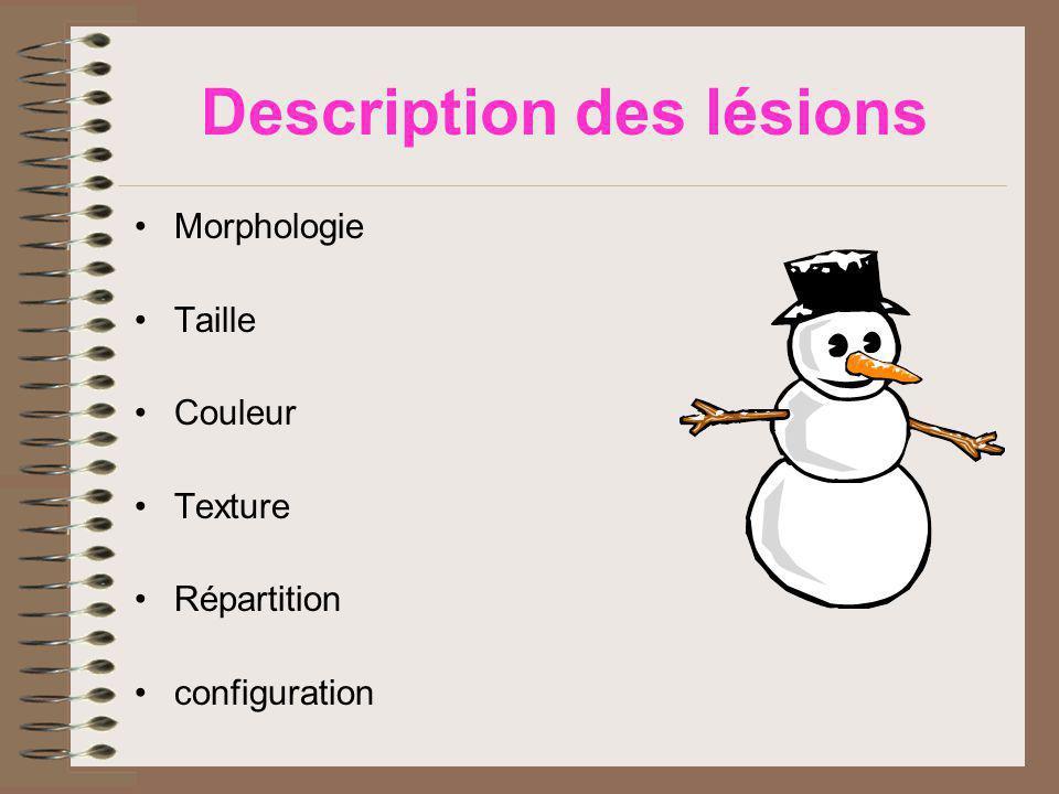 Description des lésions Morphologie Taille Couleur Texture Répartition configuration