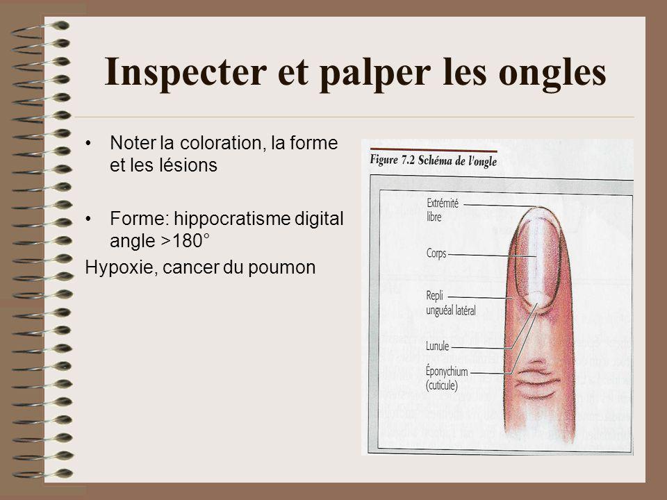 Inspecter et palper les ongles Noter la coloration, la forme et les lésions Forme: hippocratisme digital angle >180° Hypoxie, cancer du poumon