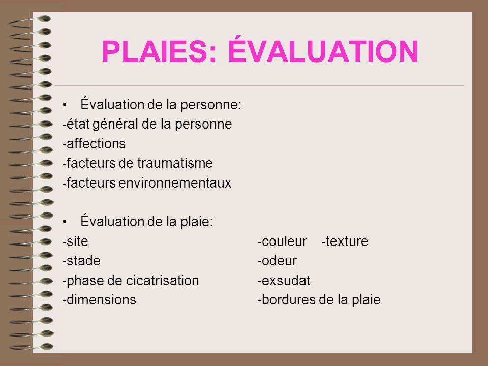 PLAIES: ÉVALUATION Évaluation de la personne: -état général de la personne -affections -facteurs de traumatisme -facteurs environnementaux Évaluation de la plaie: -site-couleur -texture -stade-odeur -phase de cicatrisation-exsudat -dimensions-bordures de la plaie