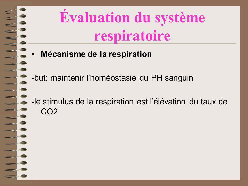 Évaluation du système respiratoire Mécanisme de la respiration -but: maintenir lhoméostasie du PH sanguin -le stimulus de la respiration est lélévation du taux de CO2