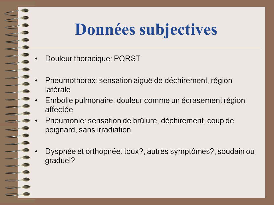 Données subjectives Douleur thoracique: PQRST Pneumothorax: sensation aiguë de déchirement, région latérale Embolie pulmonaire: douleur comme un écras