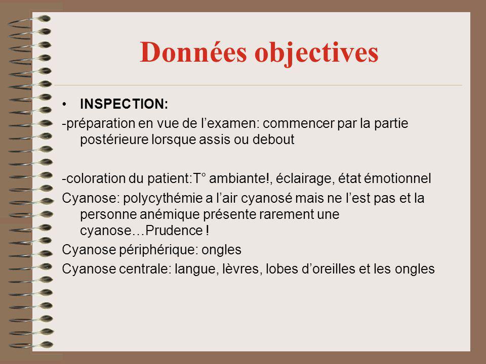 Données objectives INSPECTION: -préparation en vue de lexamen: commencer par la partie postérieure lorsque assis ou debout -coloration du patient:T° a